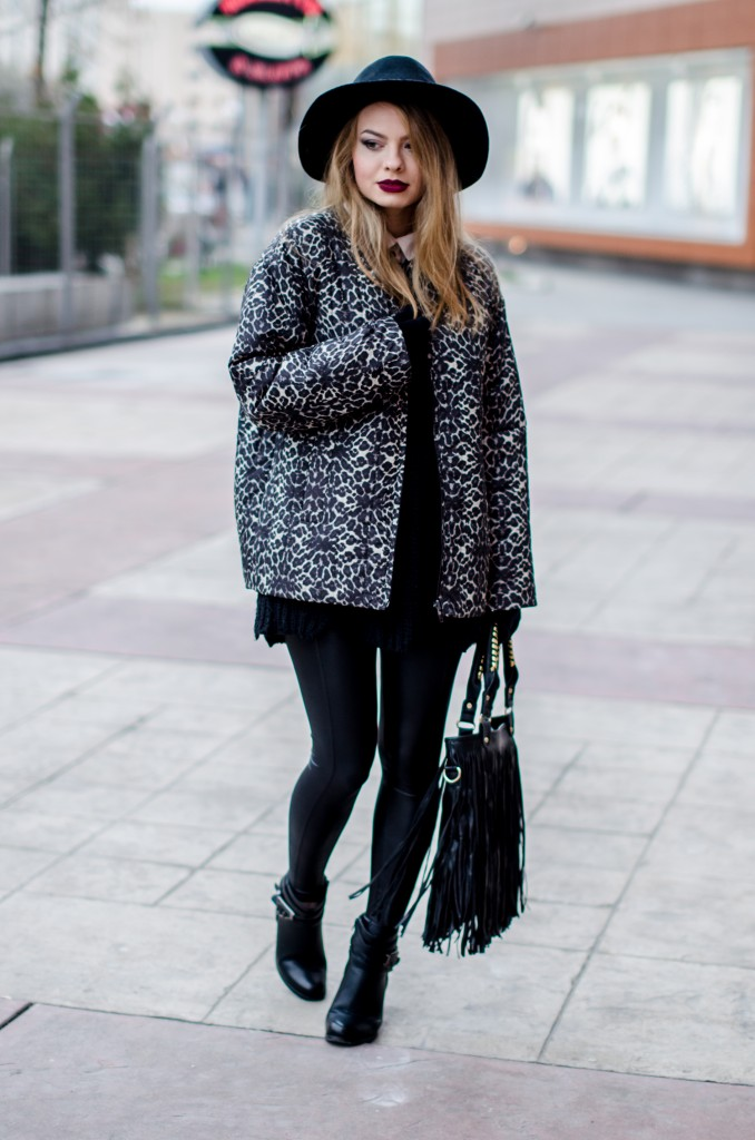animal print coat black outfit fringed bag