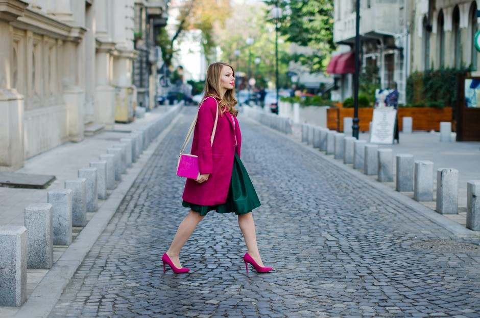 pink coat green midi skirt sheinside pink stiletto mini moon pink and green tartan