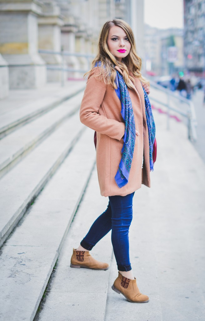 sheinside camel coat blue jeans preppy printed scarf