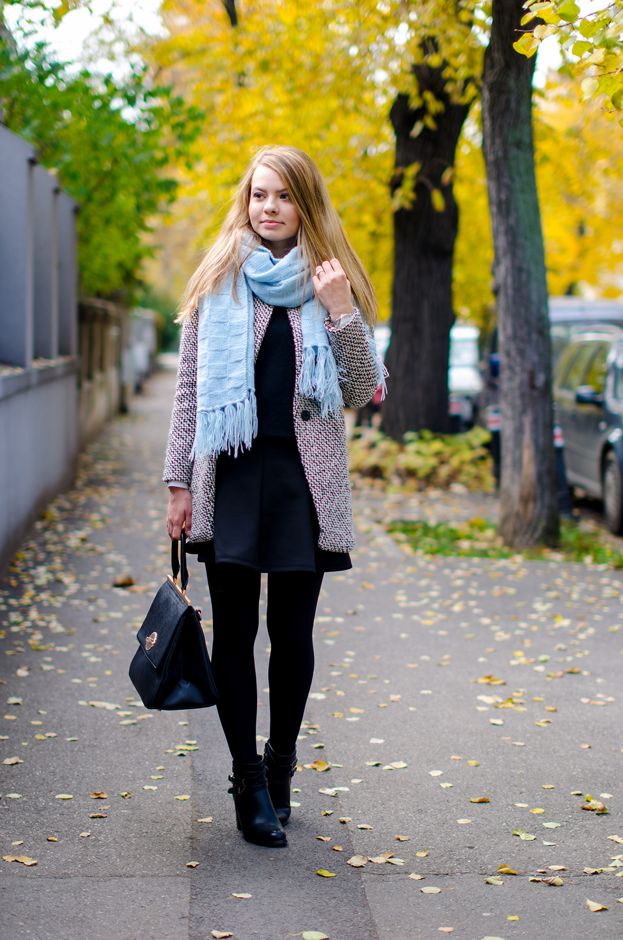 sheinside coat blue scarf black outfit 3