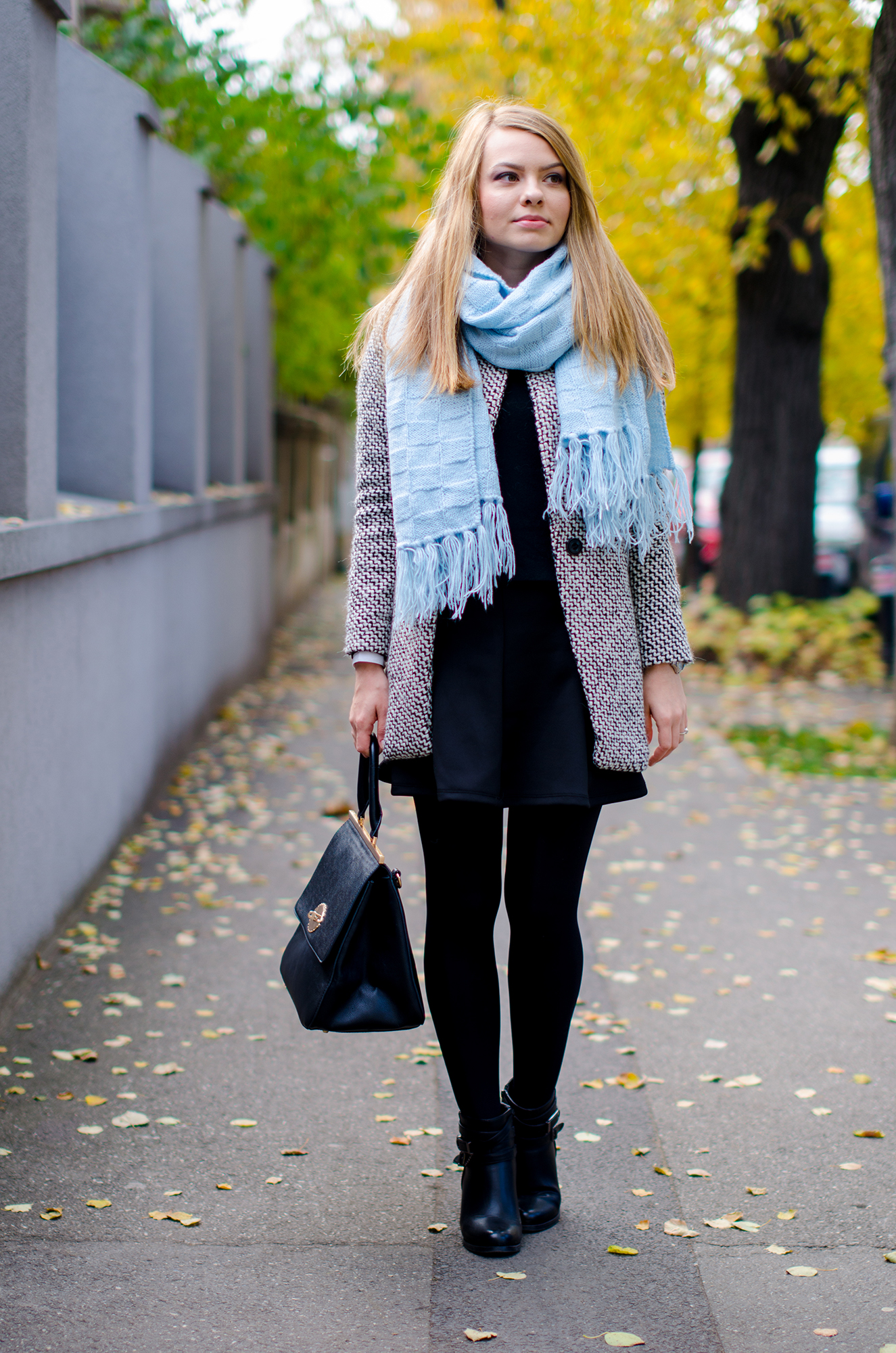 sheinside coat blue scarf black outfit