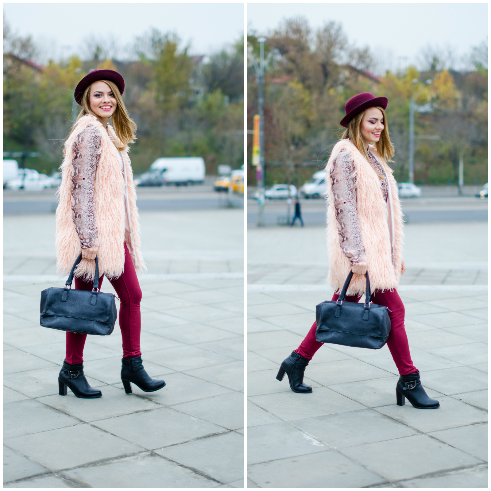 sheinside pink fluffy vest burgundy hat pants snake print shirt