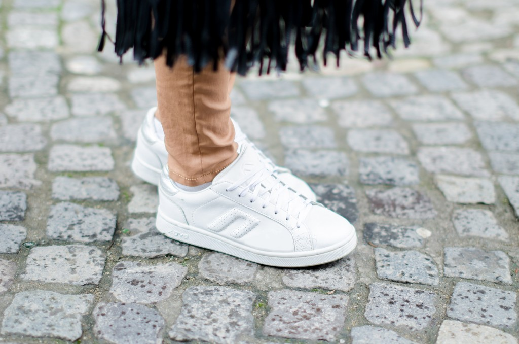 white sneakers fringe bag
