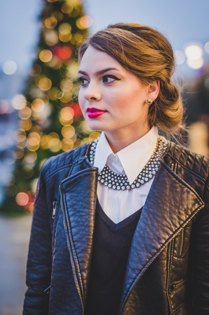 winter outfit lady like hair leather jacket holiday christmas 10