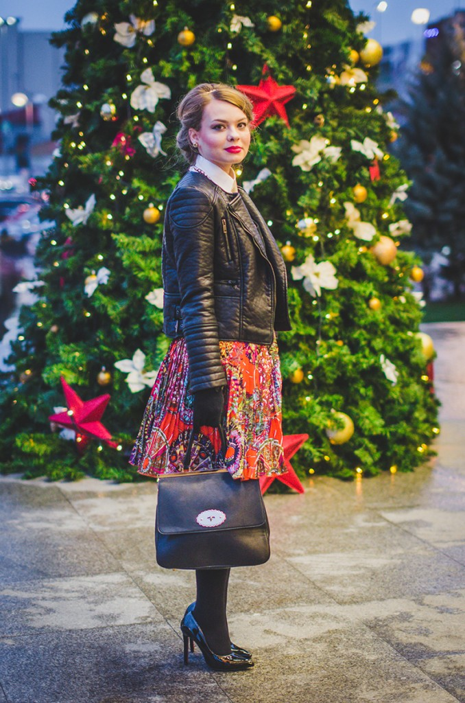 winter outfit lady like hair leather jacket holiday christmas 2