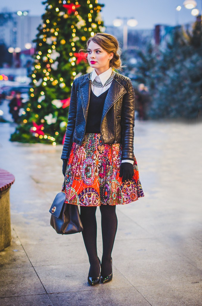 winter outfit lady like hair leather jacket holiday christmas 4