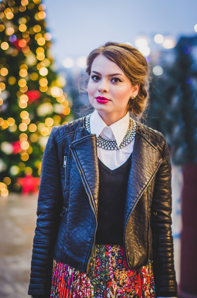 winter outfit lady like hair leather jacket holiday christmas 5