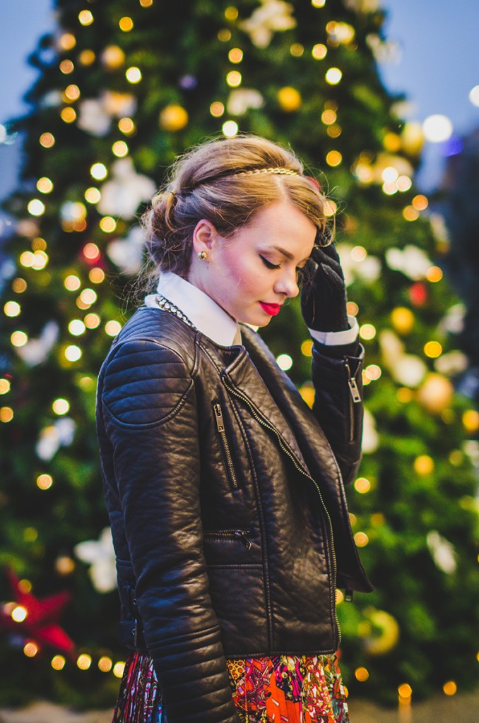 winter outfit lady like hair leather jacket holiday christmas 6