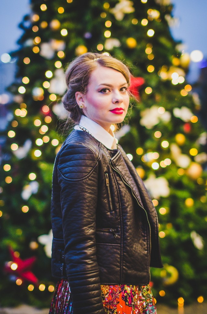 winter outfit lady like hair leather jacket holiday christmas