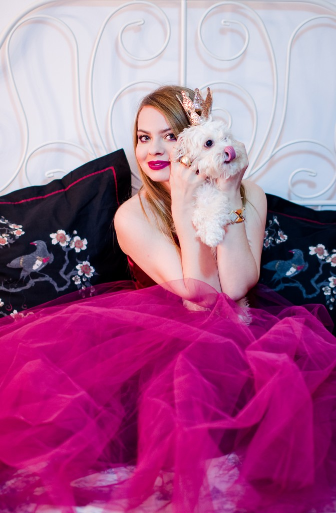 burgundy-tulle-dress-princess-gold-crown-hm dog-fluffy