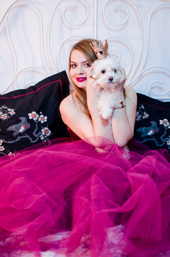 burgundy-tulle-dress-princess-gold-crown-hm-puppy-fluffy