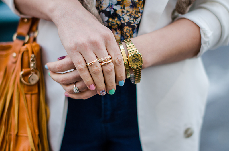 vintage-gold-casio-watch-bangle-rings