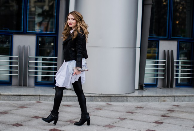 white-shirt-dress-leather-jacket-black-outfit
