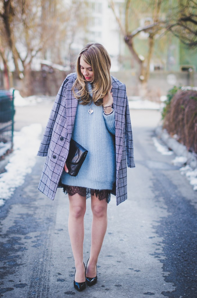 baby blue fluffy sweater lace skirt black and white plaid coat 5