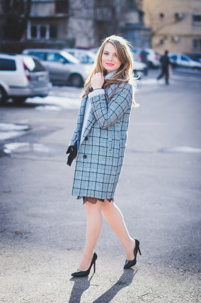 baby blue fluffy sweater lace skirt black and white plaid coat