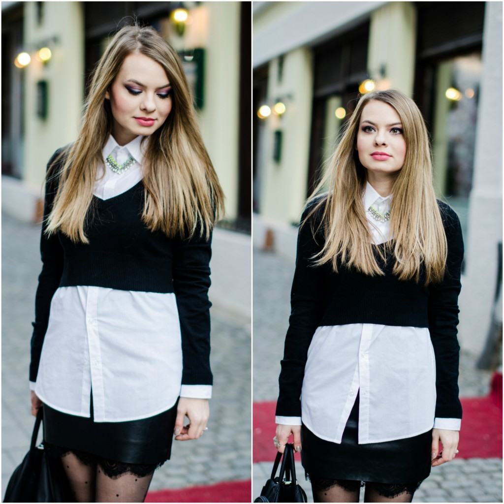 black-leather-lace-skirt-white-shirt-crop-sweater-nude-trench-coat -10