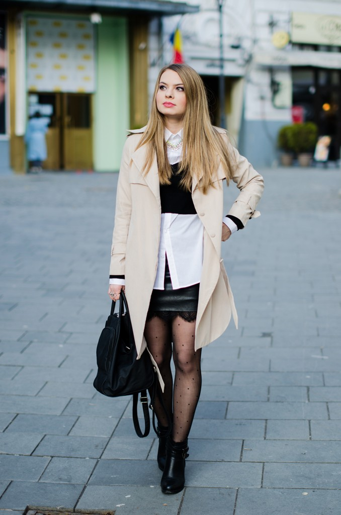 black-leather-lace-skirt-white-shirt-crop-sweater-nude-trench-coat - 2