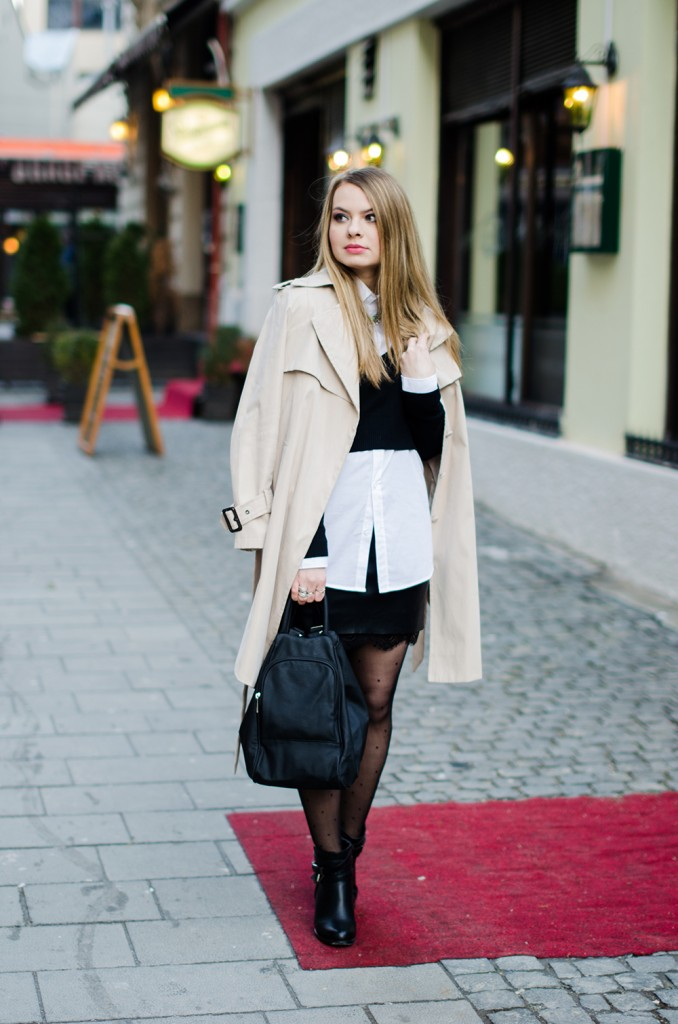 black-leather-lace-skirt-white-shirt-crop-sweater-nude-trench-coat - 4