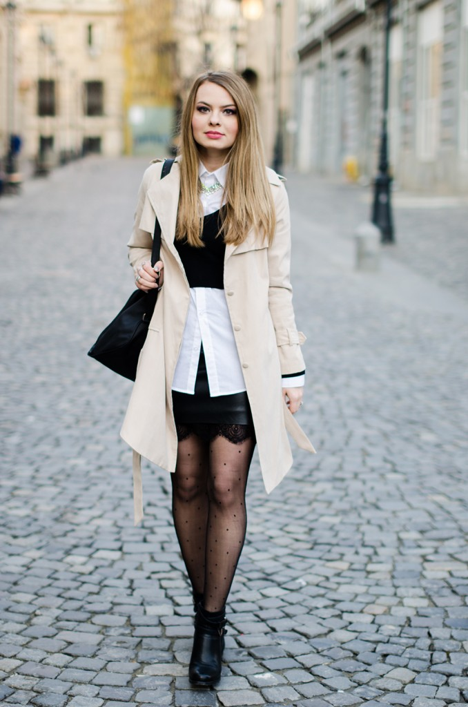 black-leather-lace-skirt-white-shirt-crop-sweater-nude-trench-coat -5