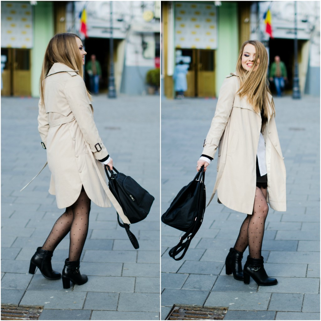 black-leather-lace-skirt-white-shirt-crop-sweater-nude-trench-coat -7