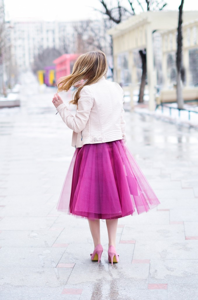 burgundy tulle skirt pink romantic outfit bow shoes 5