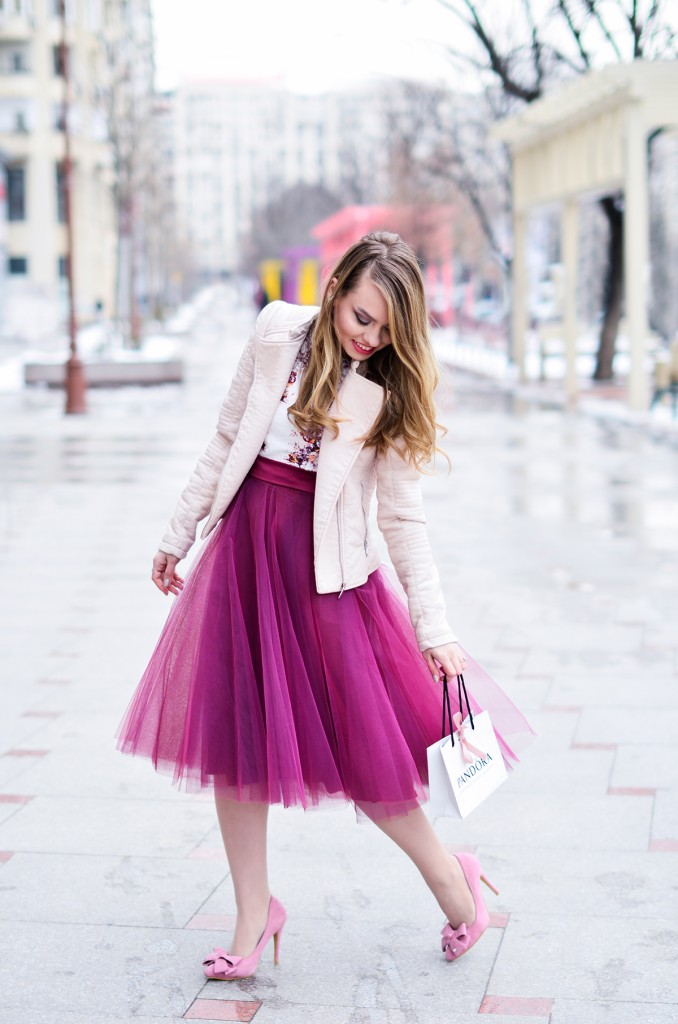 burgundy tulle skirt pink romantic outfit bow shoes