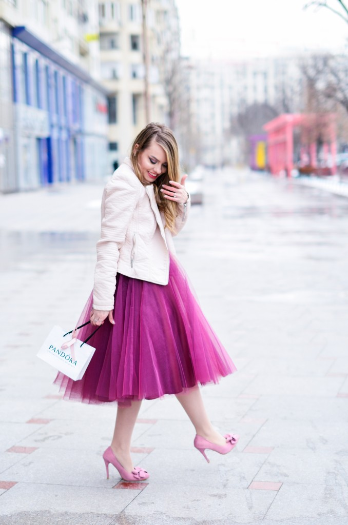 burgundy tulle skirt pink romantic outfit bow shoes pandora