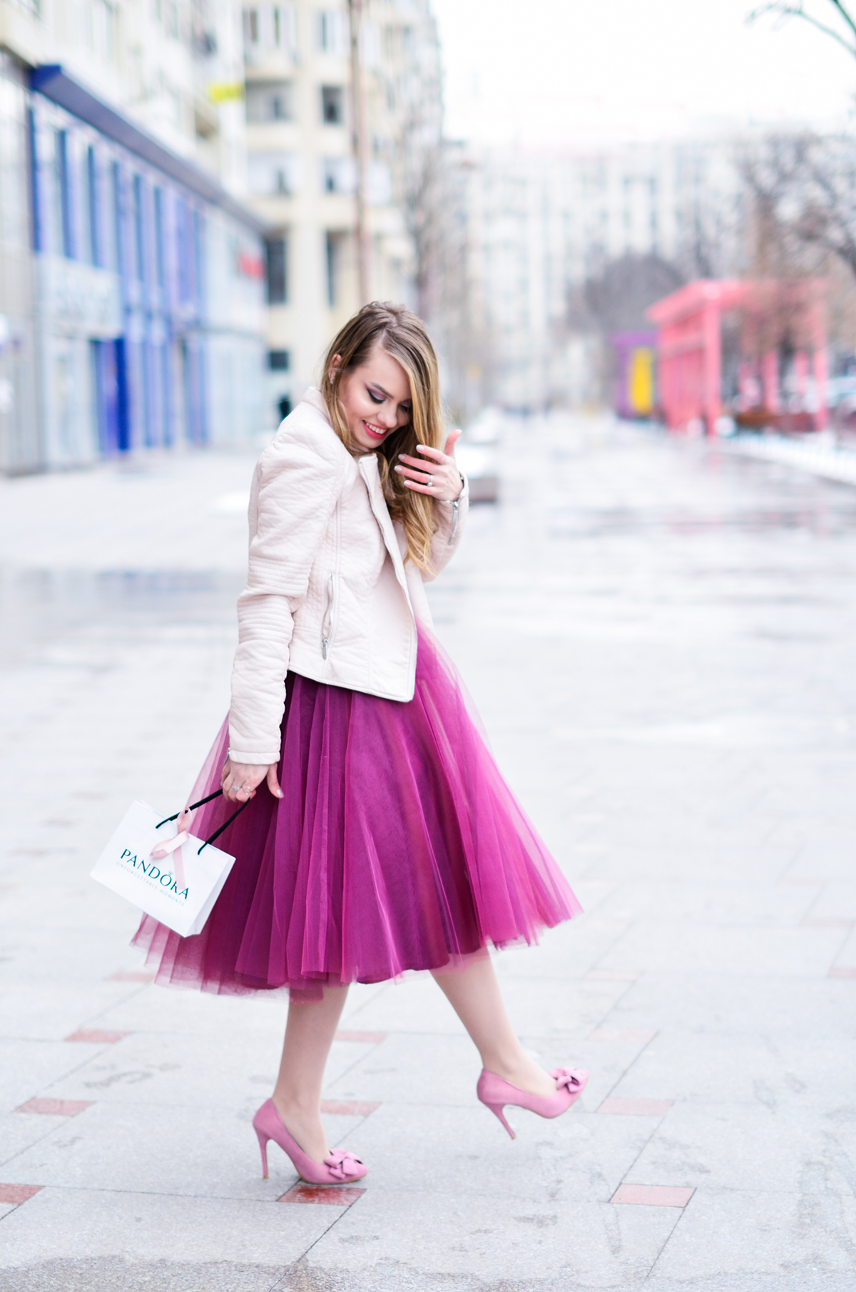 Valentine's Day outfit: pink, burgundy and tulle