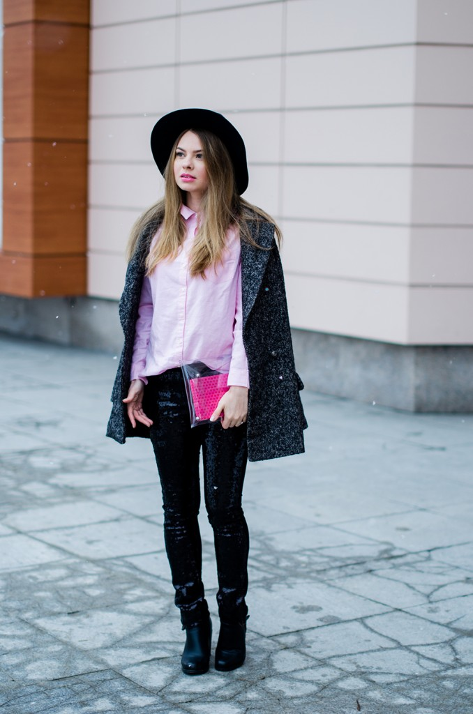 glitter pants pink shirt oversized grey coat  2
