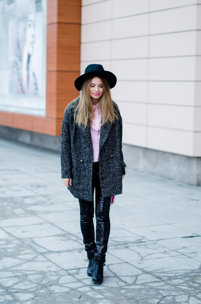 glitter pants pink shirt oversized grey coat