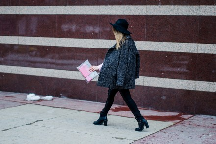 glitter pants pink shirt oversized grey coat black hat snow 11