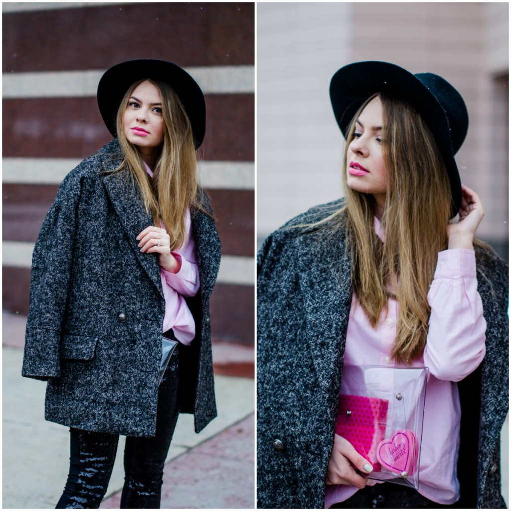 glitter pants pink shirt oversized grey coat black hat snow 12