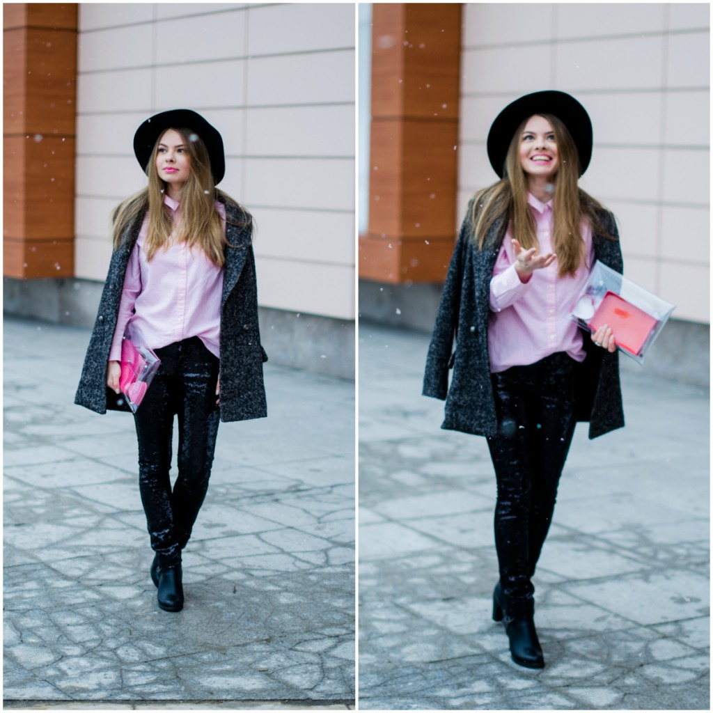 glitter pants pink shirt oversized grey coat black hat snow 13