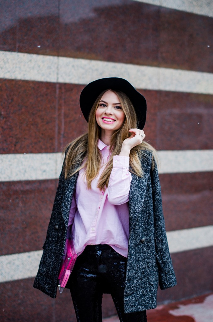 glitter pants pink shirt oversized grey coat black hat snow 2