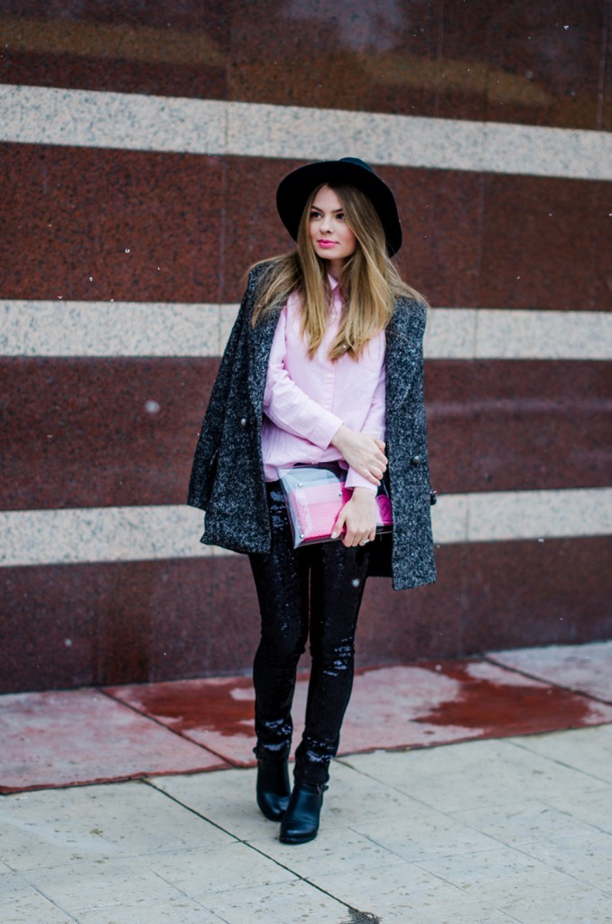 glitter pants pink shirt oversized grey coat black hat snow 4