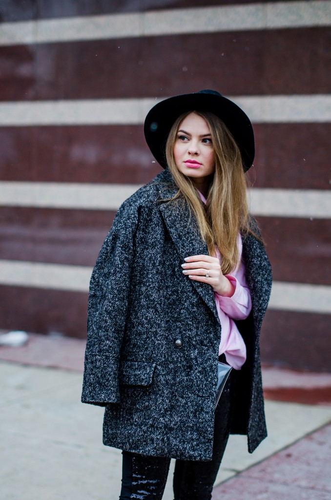 glitter pants pink shirt oversized grey coat black hat snow 5