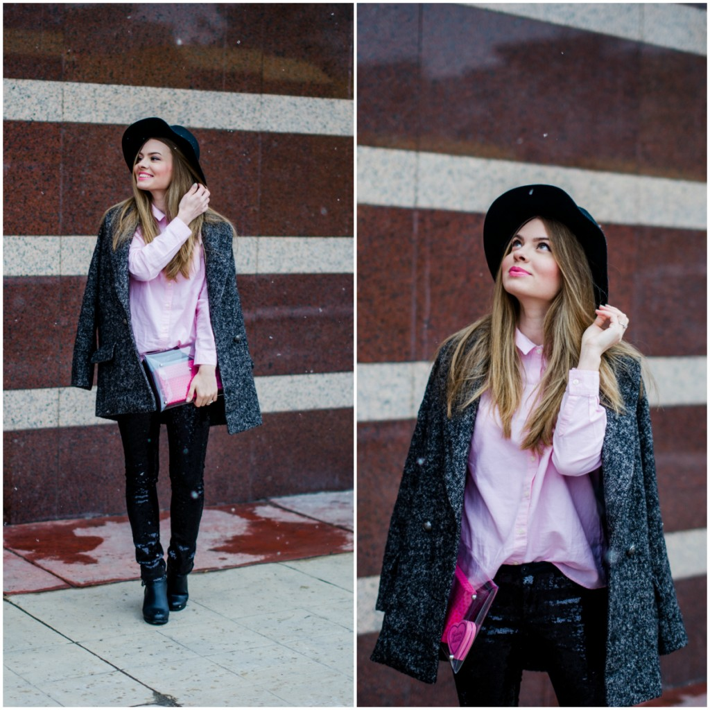 glitter pants pink shirt oversized grey coat black hat snow 7