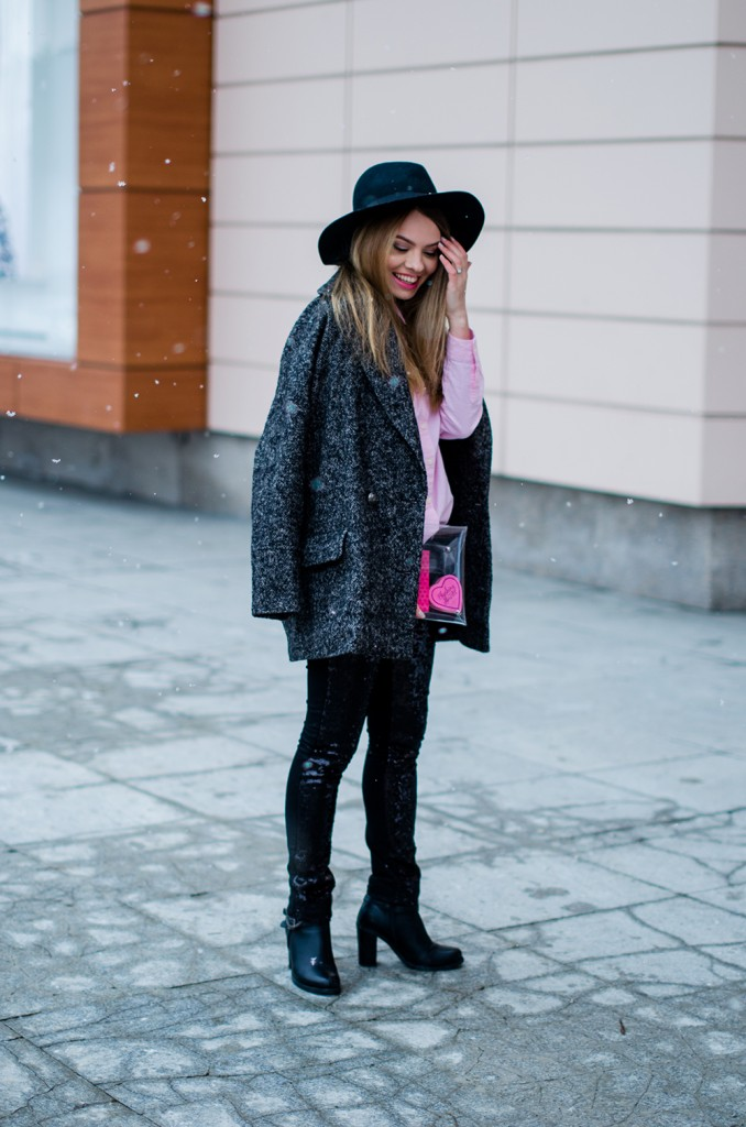 glitter pants pink shirt oversized grey coat  snow 2