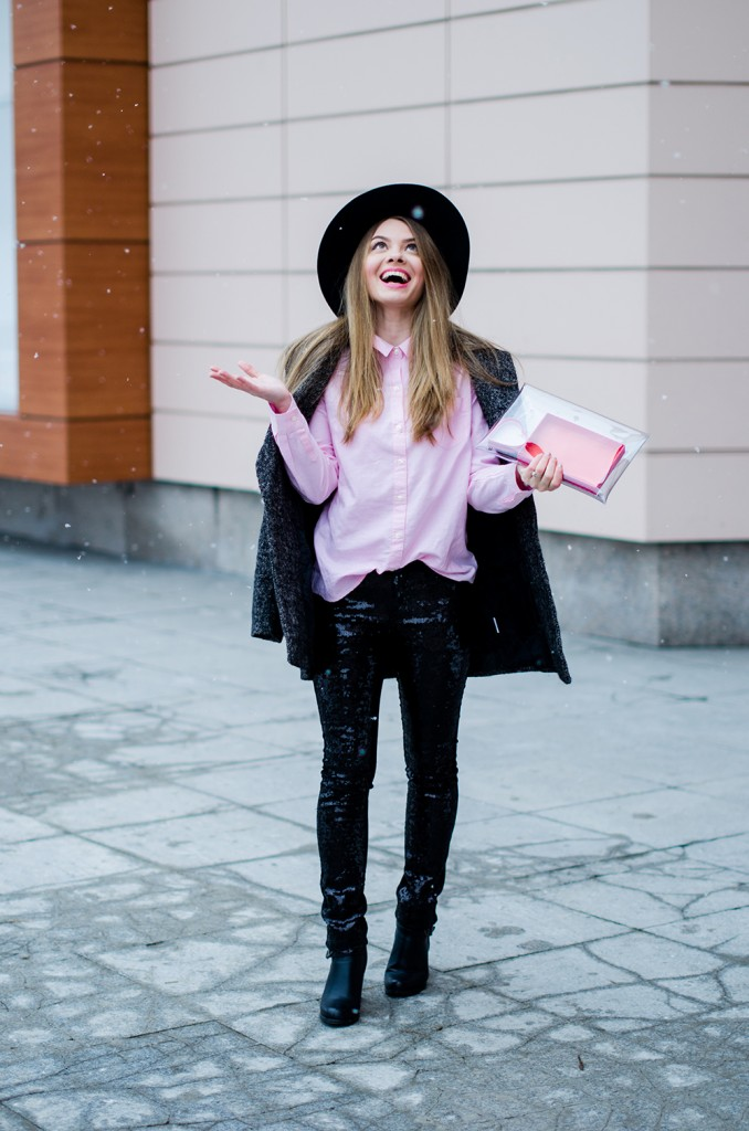 glitter pants pink shirt oversized grey coat  snow