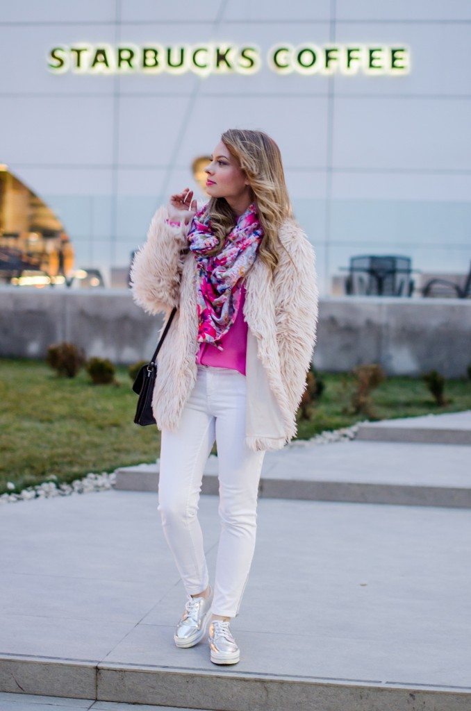 pink-fluffy-coat-white-pants-metallic-sneakers 1