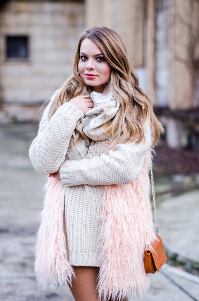 white-sweater-brown-pants-pink-fluffy-vest-pink-tartan-scarf-3