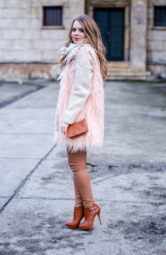 white-sweater-brown-pants-pink-fluffy-vest-pink-tartan-scarf-4