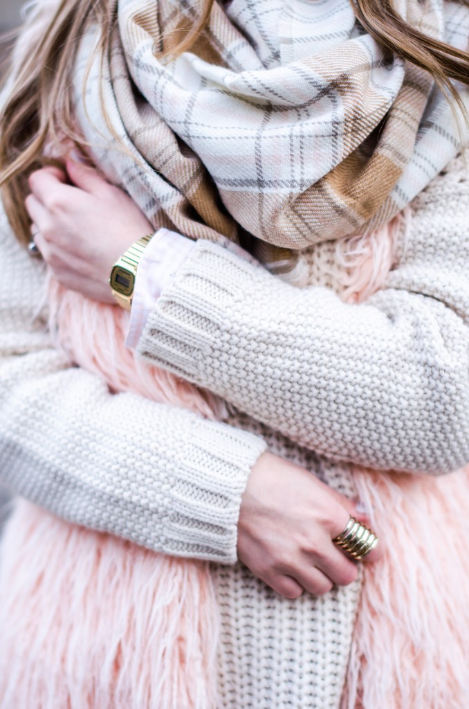 white-sweater-pink-fluffy-vest-pink-tartan-scarf-casio-vintage-watch