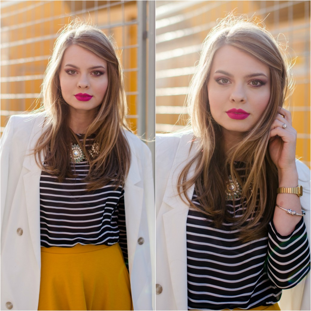 Stradivarius-midi-mustard-skirt-bershka-striped-blouse-white-blazer-pink-bag-outfit (17)