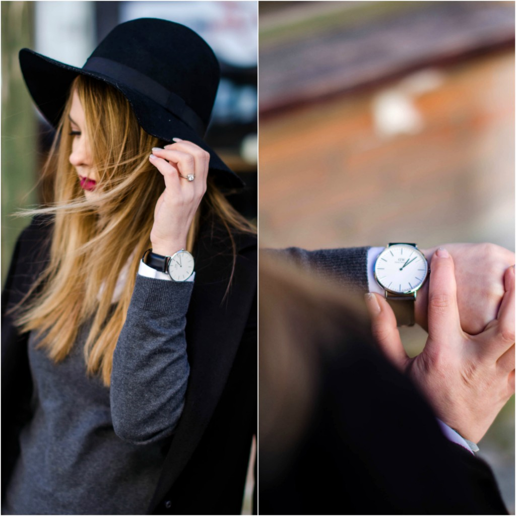 daniel-wellington-classic-sheffield-watch-black-and-white-outfit-hat-loafers-black-coat (22)