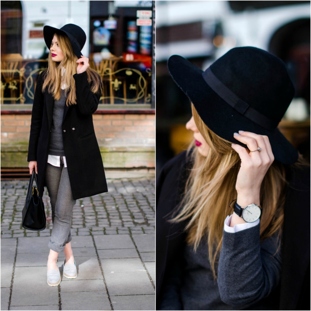 daniel-wellington-classic-sheffield-watch-black-and-white-outfit-hat-loafers-black-coat (23)