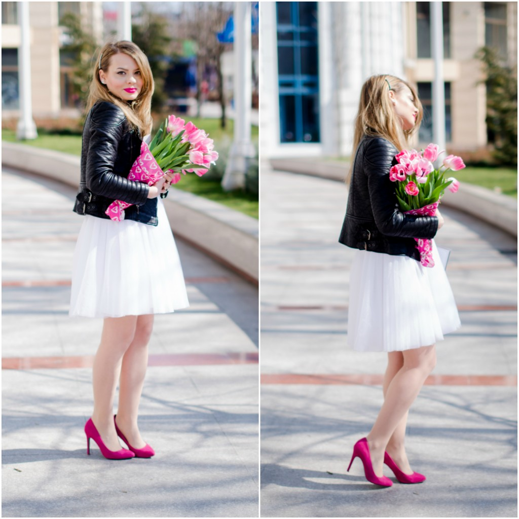 white-princess-dress-tulle-embroidered-pink-tulips-leather-jacket-birthday (1)