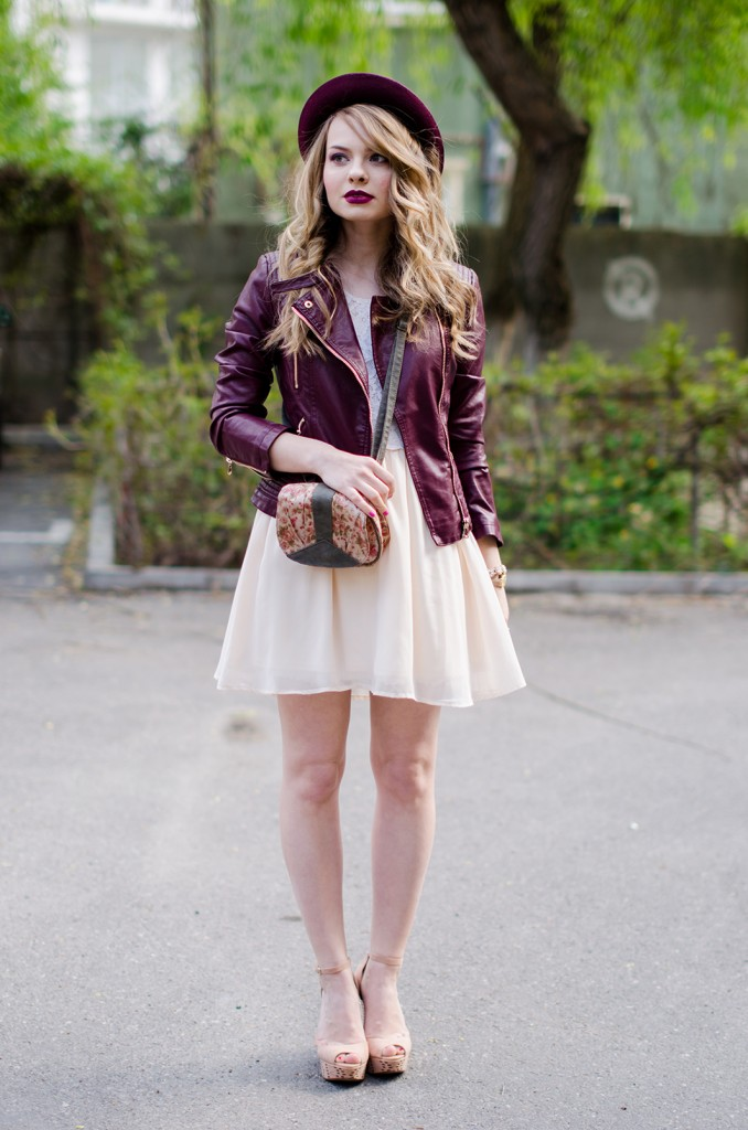 burgundy-leather-jacket-bershka-pink-sandals-burgundy-hat-powdery-pink-feminine-dress-h&m-outfit-pink-wish (4)