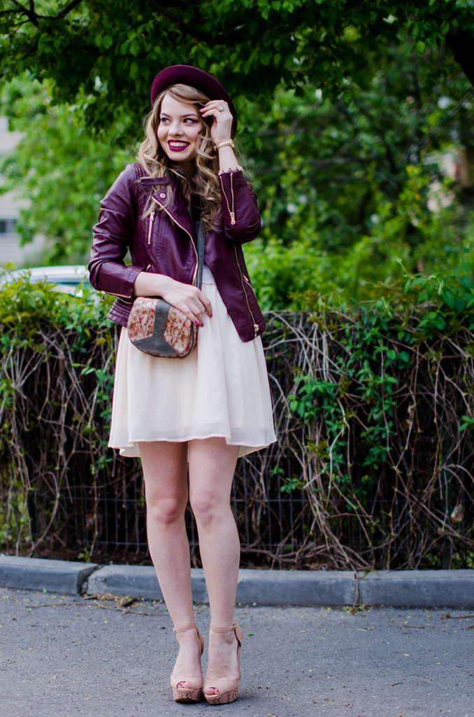burgundy-leather-jacket-bershka-pink-sandals-burgundy-hat-powdery-pink-feminine-dress-h&m-outfit-pink-wish (7)