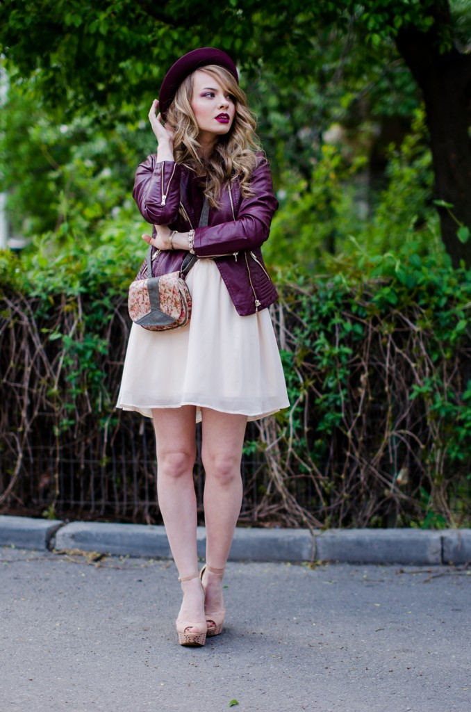 burgundy-leather-jacket-bershka-pink-sandals-burgundy-hat-powdery-pink-feminine-dress-h&m-outfit-pink-wish (9)